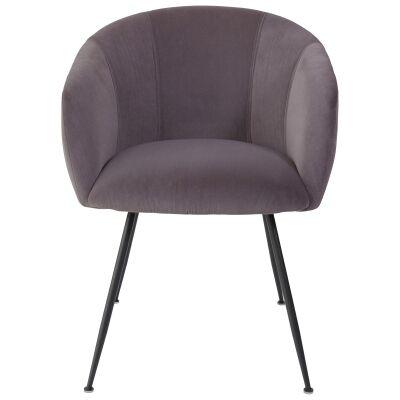 Linn Velvet Fabric Dining Chair, Dark Brown