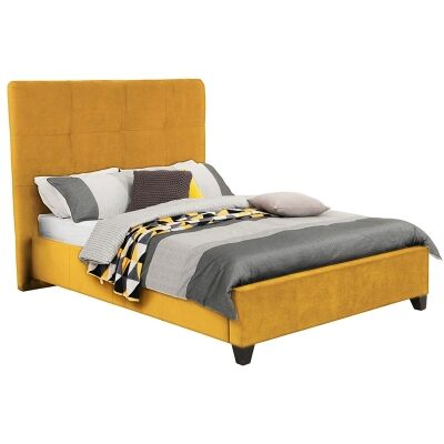 Ruby Australian Made Fabric Bed, Queen Size, Buttercup