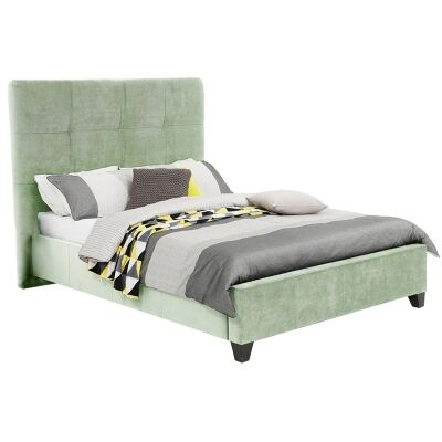 Ruby Australian Made Fabric Bed, Queen Size, Duckegg