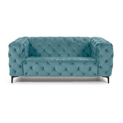 Shanay Tufted Velvet Fabric Sofa, 2 Seater, Green