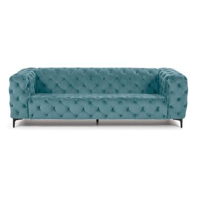 Shanay Tufted Velvet Fabric Sofa, 3 Seater, Green