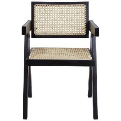 Doyles Beech Timber & Rattan Dining Armchair, Black
