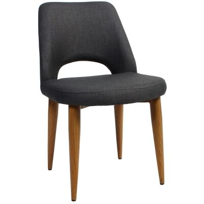 Albury Commercial Grade Fabric Dining Chair, Metal Leg, Charcoal / Light Oak