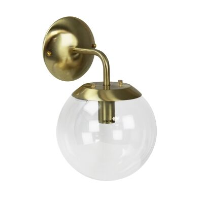 Newton Spherical Glass Wall Light, Brushed Brass