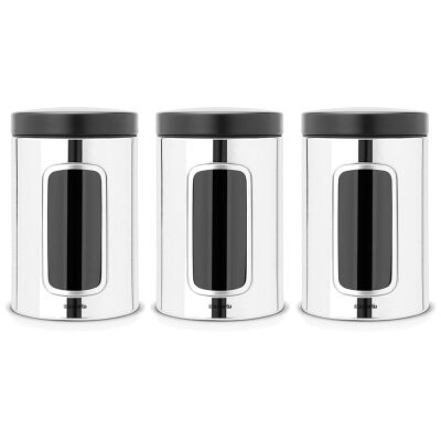 Set of 3 Brabantia 1.4L Window Storage Canisters with Black Lid - Brilliant Steel