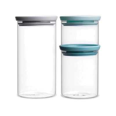Brabantia 3 Piece Soft Tone Lid Stackable Glass Jar Set