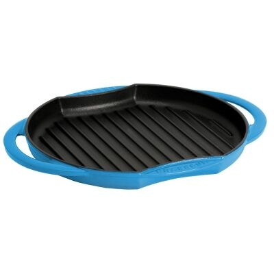 Chasseur Cast Iron Round Grill, 26cm, Riviera Blue