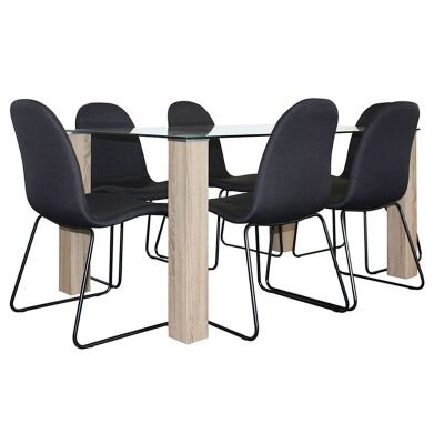 Emilio 7 Piece Glass Top Dining Table Set, 160cm, Black Barton Chair