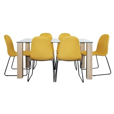 Emilio 7 Piece Glass Top Dining Table Set, 160cm, Yellow Barton Chair