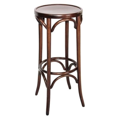 Florence Polish Made Commercial Grade Beech Timber Bar Stool, Walnut