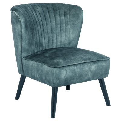 Mima Velvet Fabric Lounge Chair, Emerald