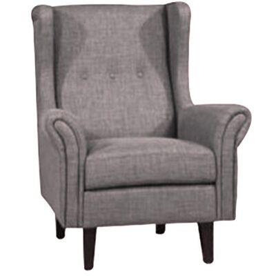 Wotton Fabric Wing Back Lounge Armchair, Grey