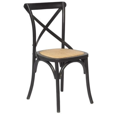 Sherwood Solid Oak Timber Cross Back Dining Chair with Rattan Seat - Distressed Black