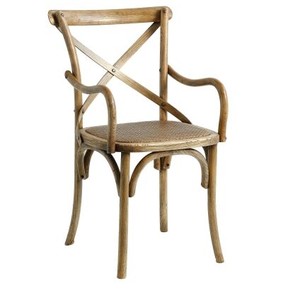 Sherwood Solid Oak Timber Cross Back Dining Armchair with Rattan Seat - Distressed Natural