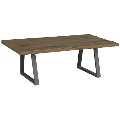 Udall Mango Wood Timber and Metal 130cm Coffee Table