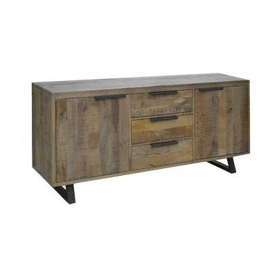 Udall Solid Mango Wood Timber and Metal Sideboard