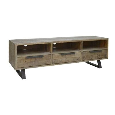 Udall Solid Mango Wood Timber and Metal TV Unit, 150cm