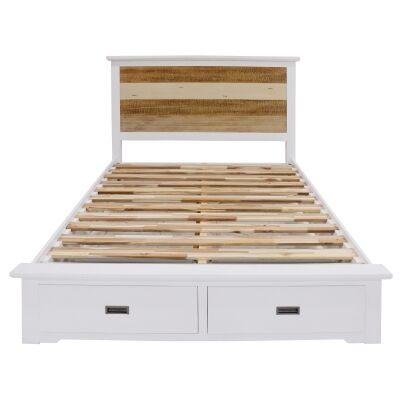 Largo Acacia Timber Bed with End Drawers, King