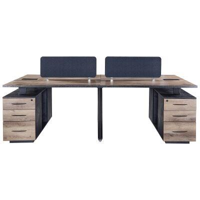 Arto Back-To-Back Workstation Desk, 4 Seats with Side Cabinets, 240cm