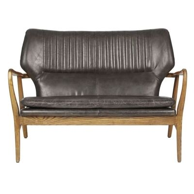 Whitworth Leather & Oak Timber 2 Seater Sofa, Charcoal