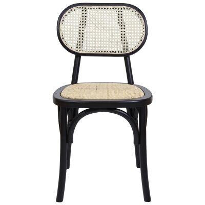 Kotara Beech Timber & Rattan Dining Chair, Black