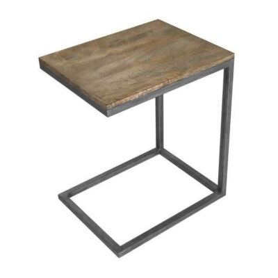 Byrne Solid Mango Wood Timber & Metal C-Shape Side Table