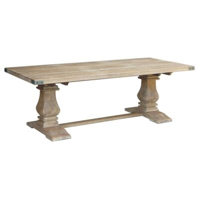 Oatley French Inspired Hand-crafted 230cm Solid Mango Wood Timber Dining Table - Honey Wash Finish