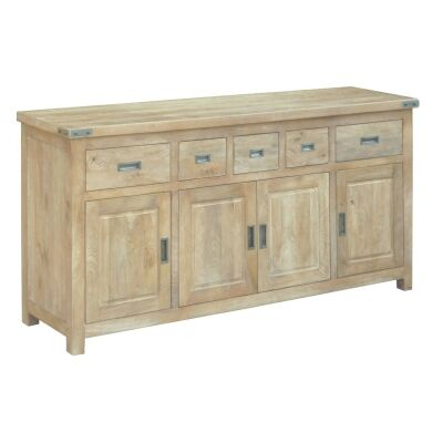 Oatley Handcrafted Solid Mango Wood Timber 4 Door 5 Drawer 180cm Buffet Table - Honey Wash