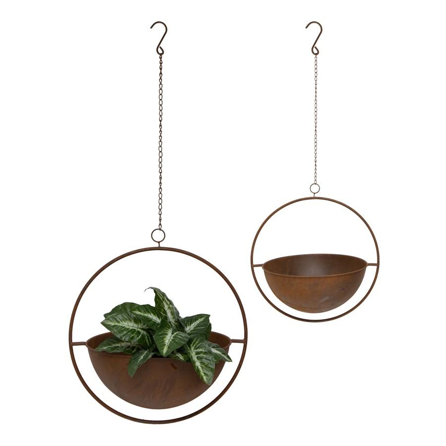 Sora 2 Piece Rustic Iron Round Hanging Planter Set