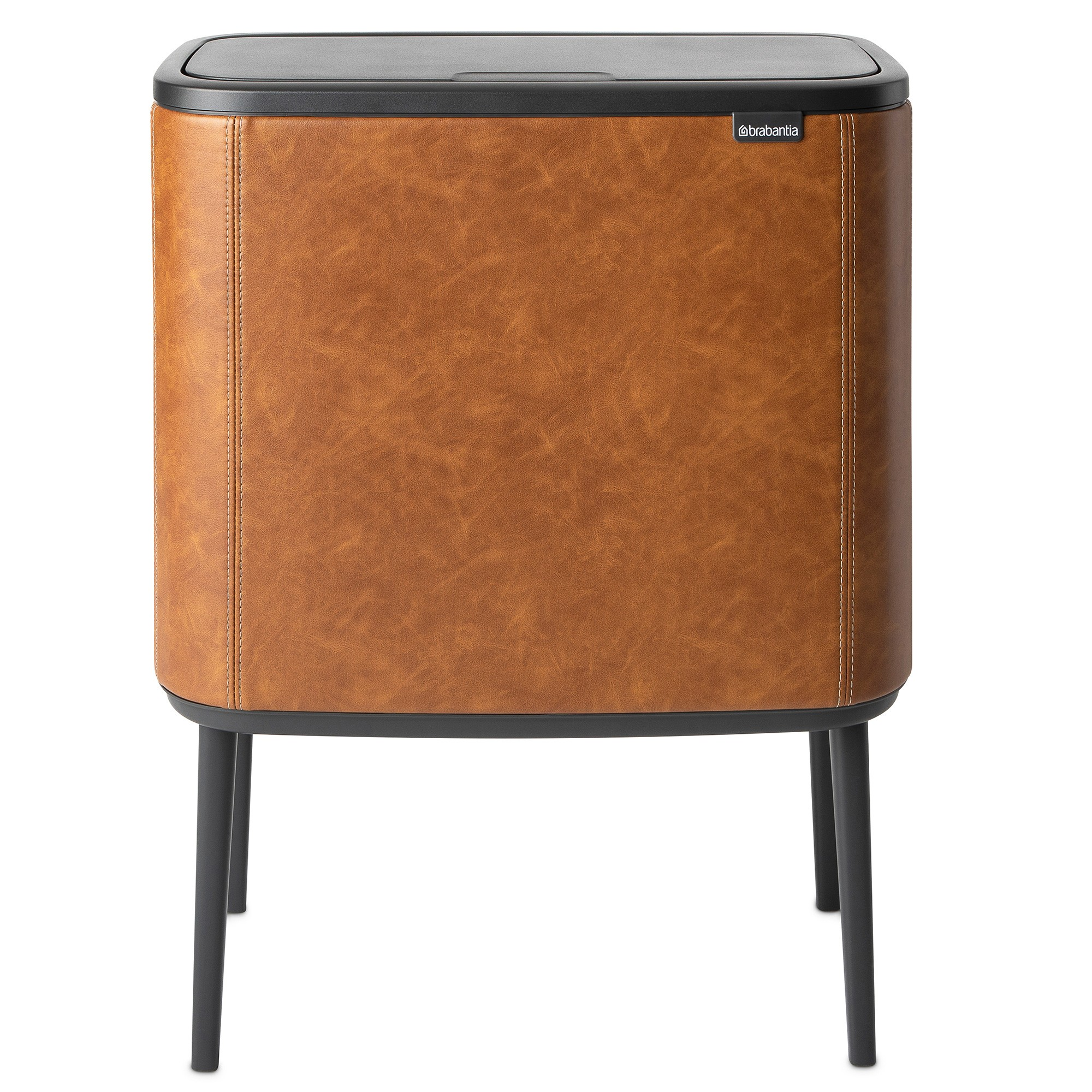 Brabantia BO Limited Edition Vegan Leather Touch Waste Bin, 11/23 Liter, Cognac