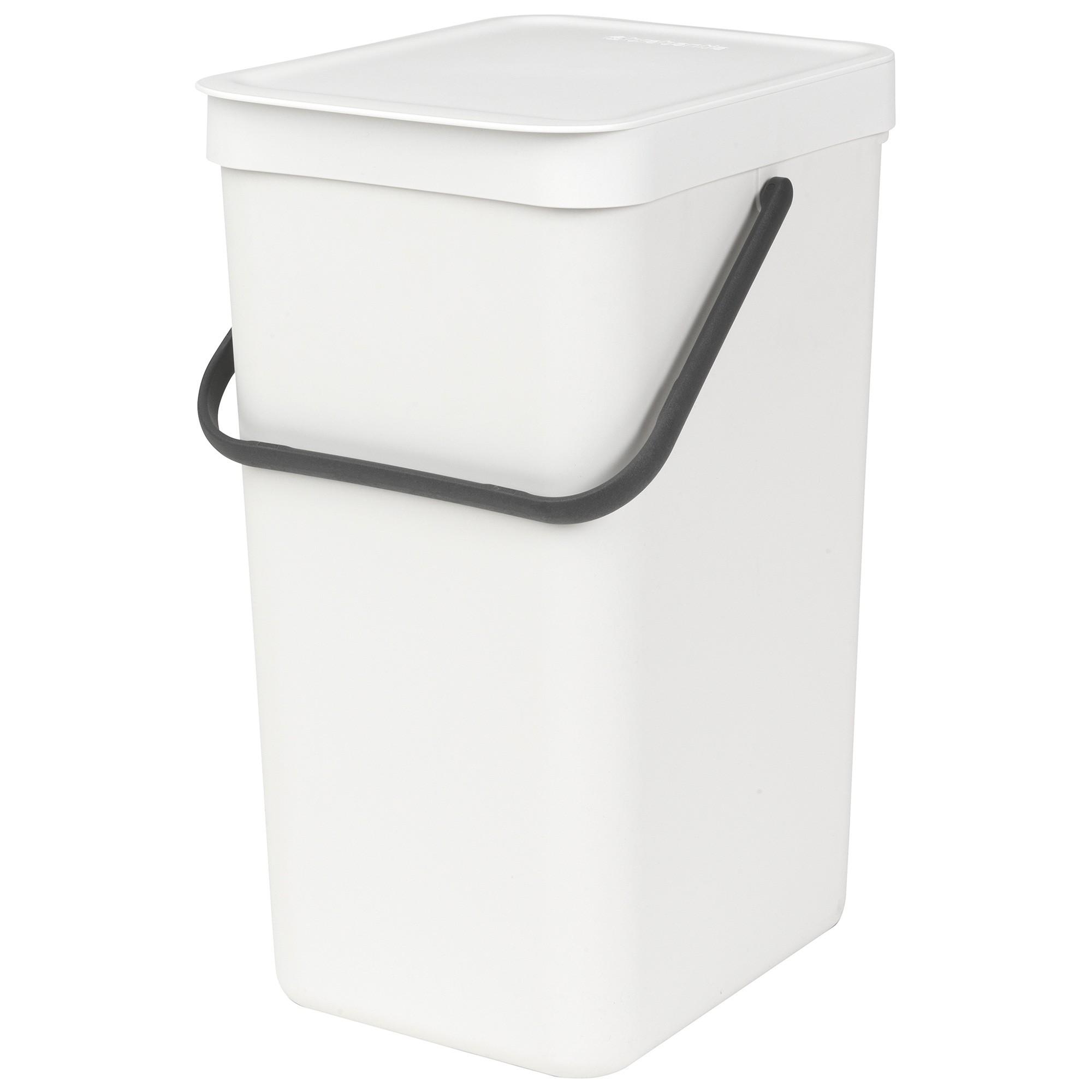 Brabantia Sort & Go Waste Bin, 16 Litre, White