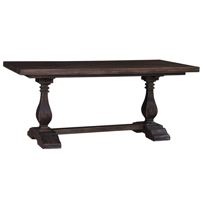 Calverton Mahogany Timber Trestle Dining Table, 244cm, Cocoa