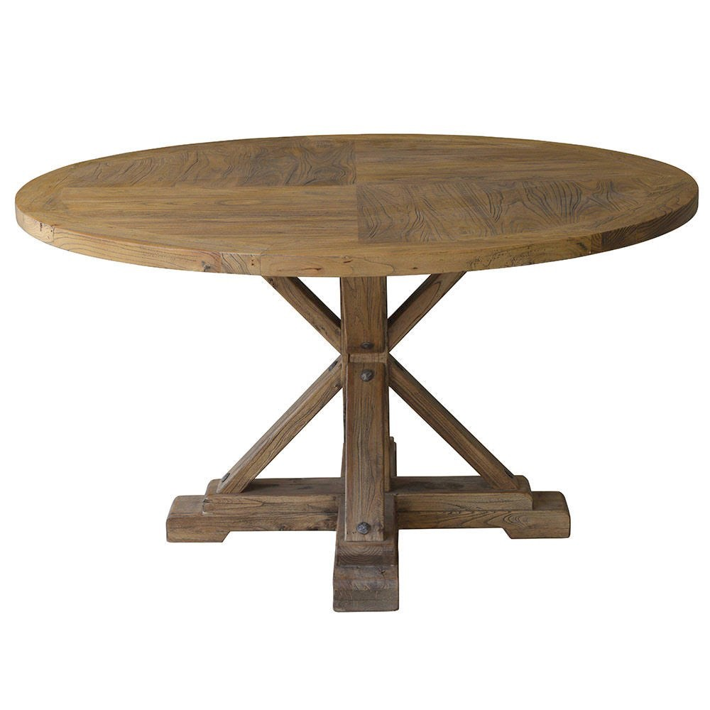 Bordeaux Reclaimed Elm Timber Round Dining Table, 140cm