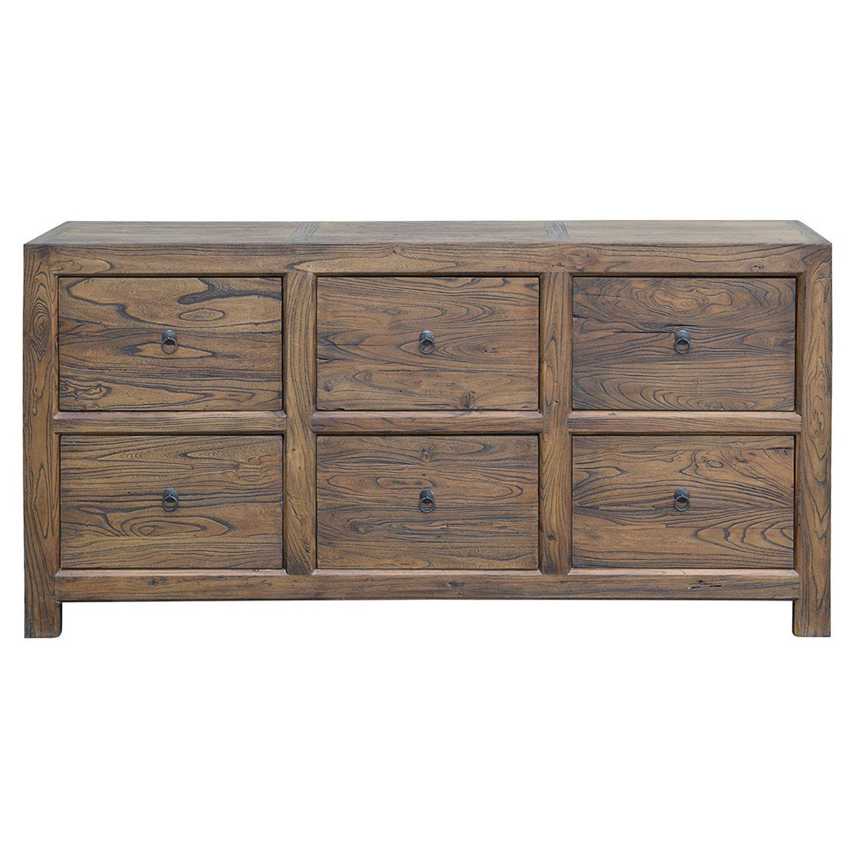 Bordeaux Reclaimed Elm Timber 6 Drawer Chest / Sideboard, 173cm