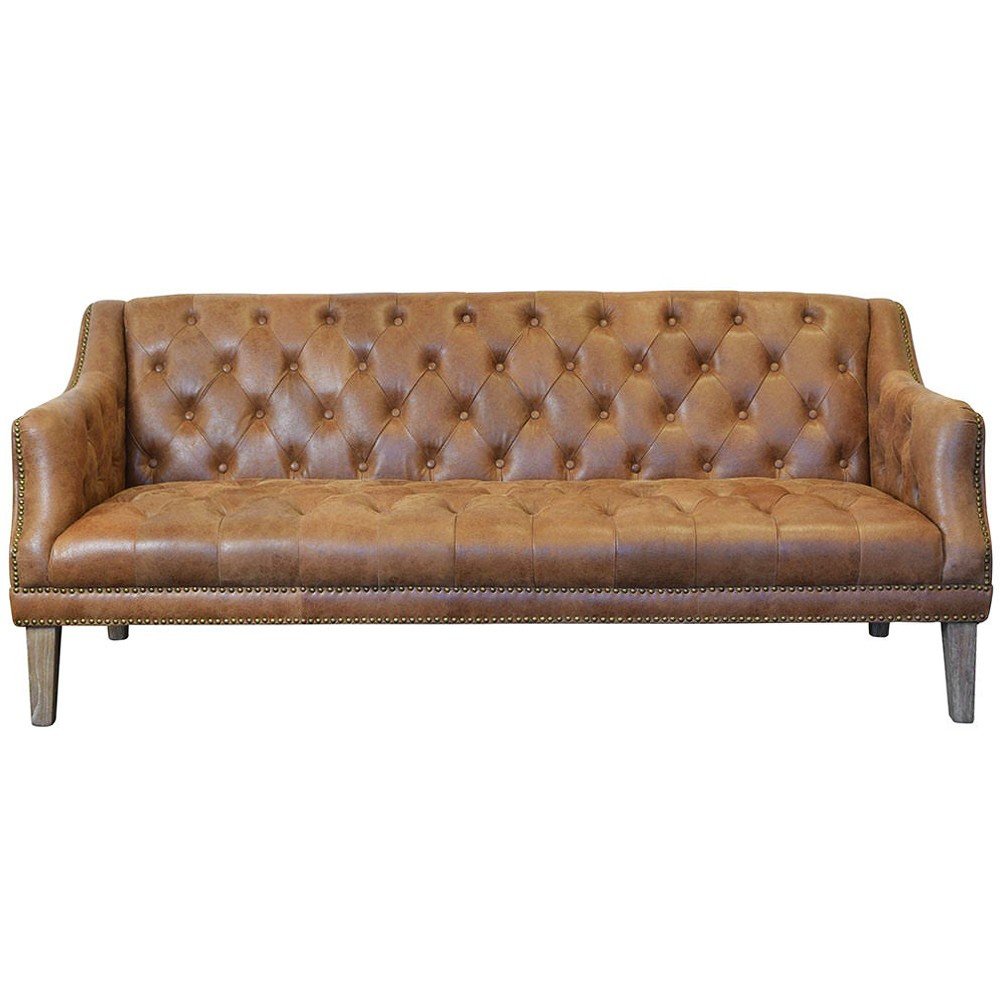 Jonathan Tufted Leather 3 Seater Sofa