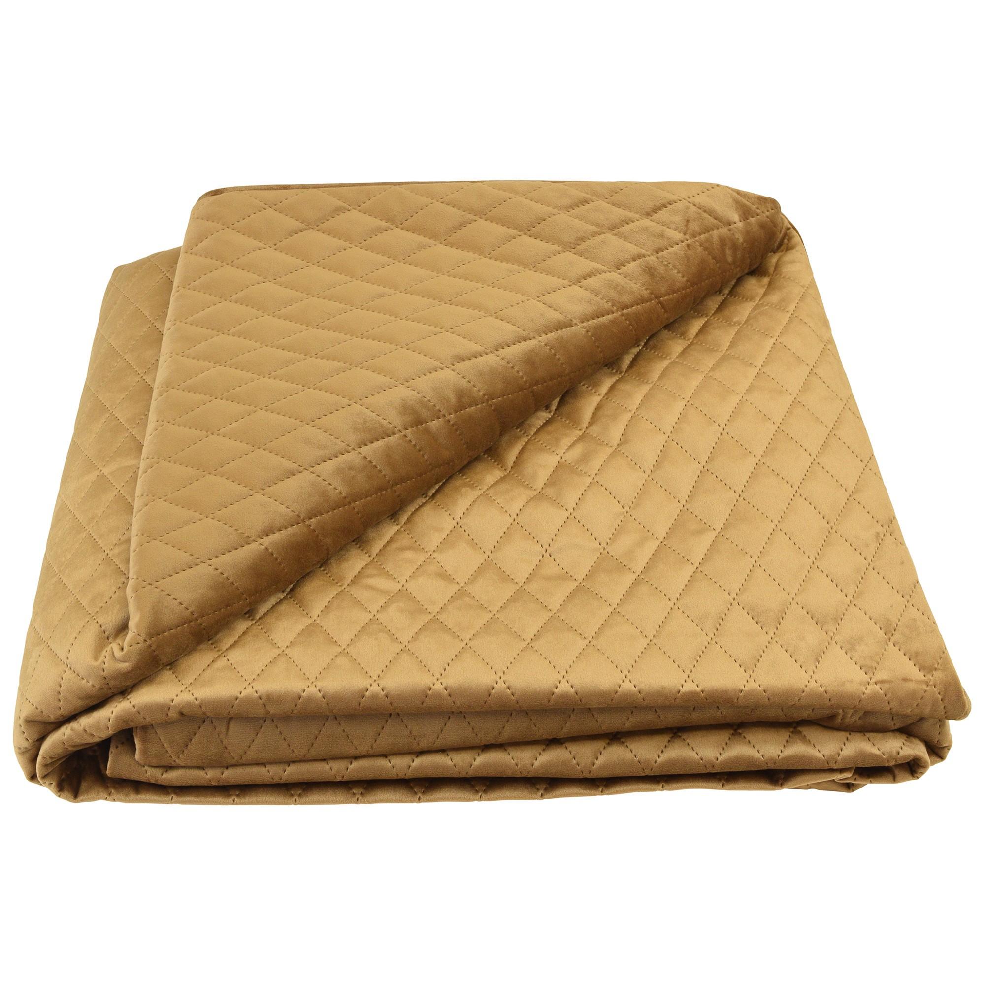 Bolero Velvet Quilted Bed Coverlet, 145x250cm, Caramel