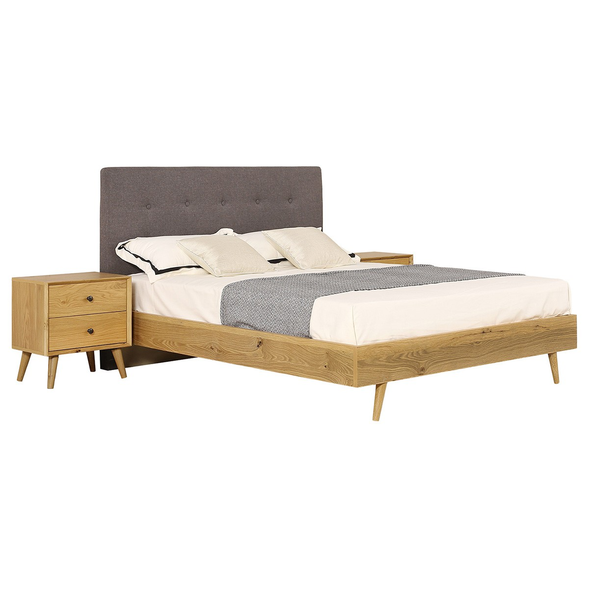 Winona American Oak Timber Bed, King