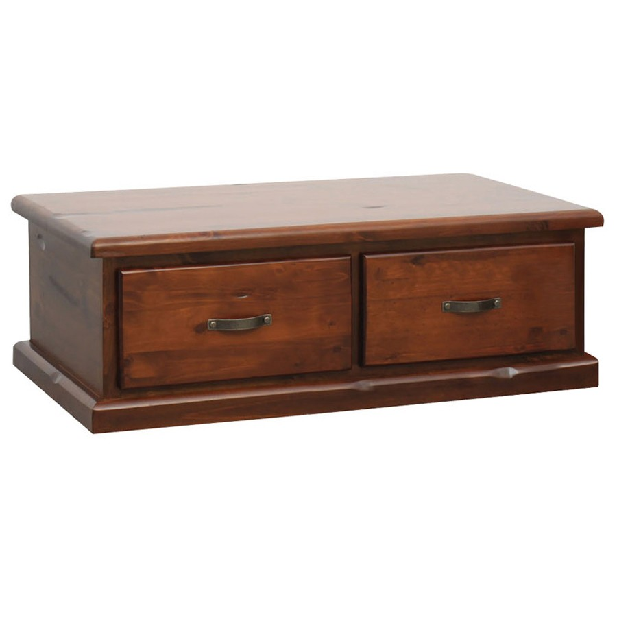 Spring New Zealand Pine Timber 2 Drawer Coffee Table, 127cm