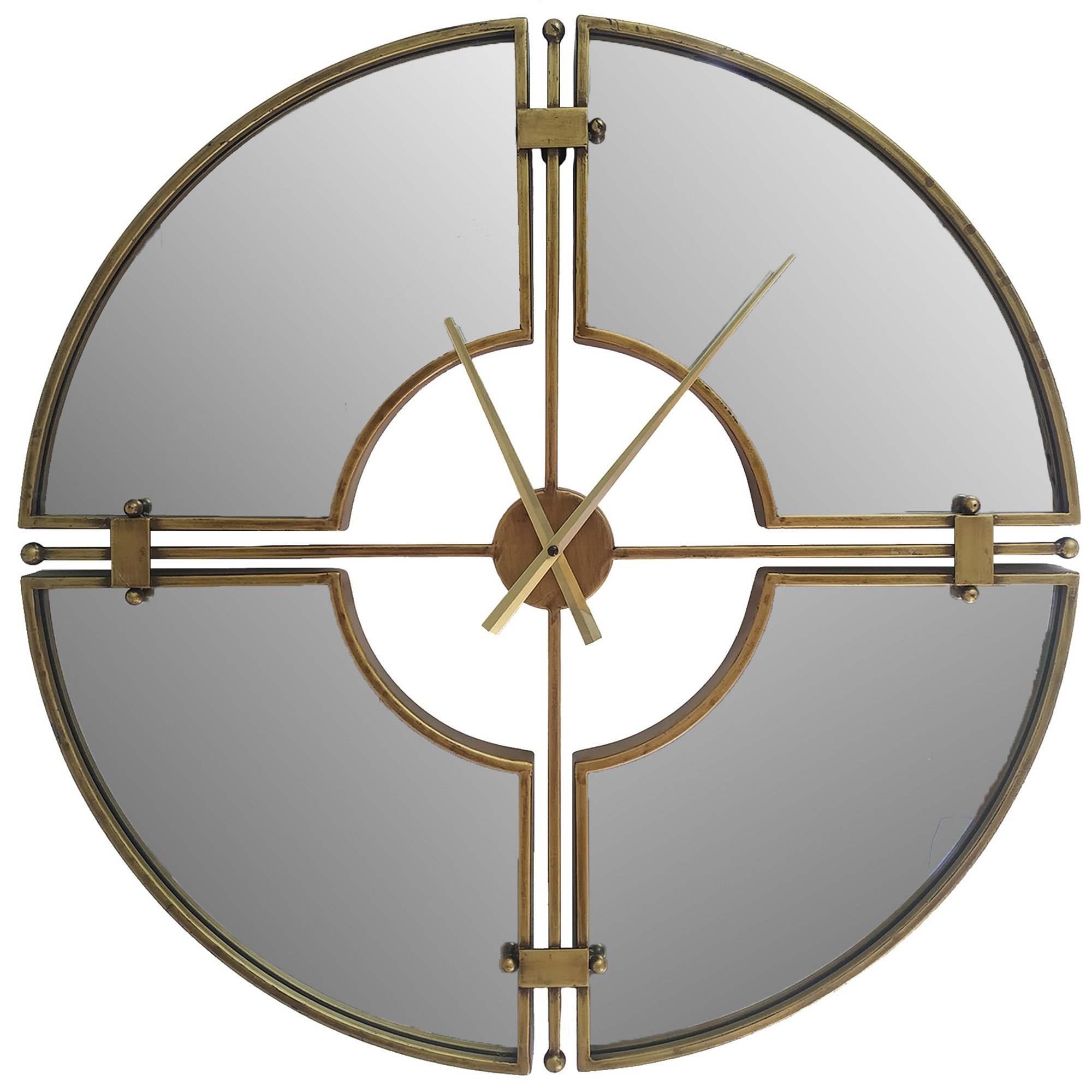 Lescout Metal Frame Mirrored Round Wall Clock, 70cm
