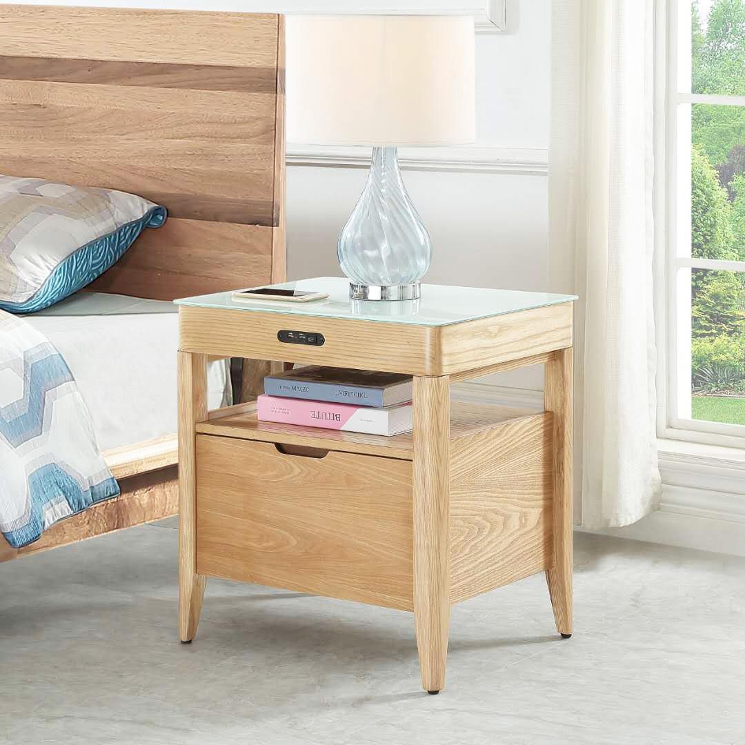 Elvelec Wireless Charging Bedside Table, Oak