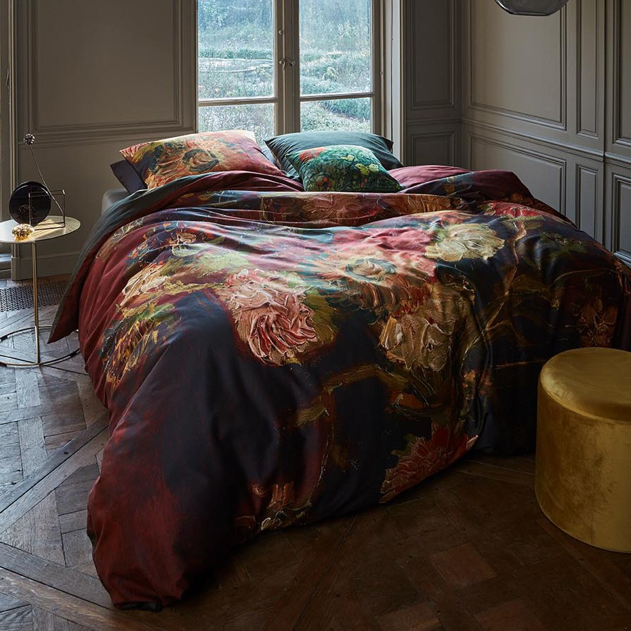 Beddinghouse Van Gogh Vase with Chinese Asters & Gladioli Cotton Sateen Quilt Cover Set, Double