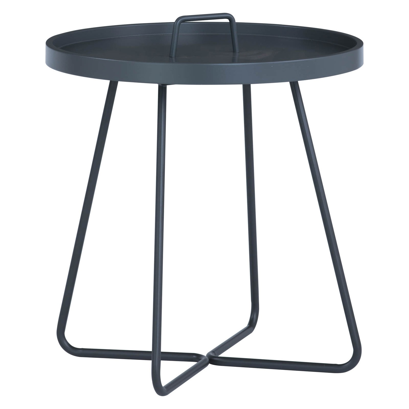 Jaxi Metal Round Tray Top Side Table, Graphite