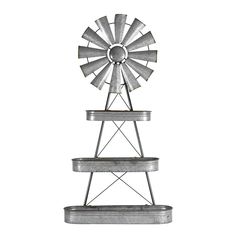 Bram Metal Windmill Wall Shef, Oblong