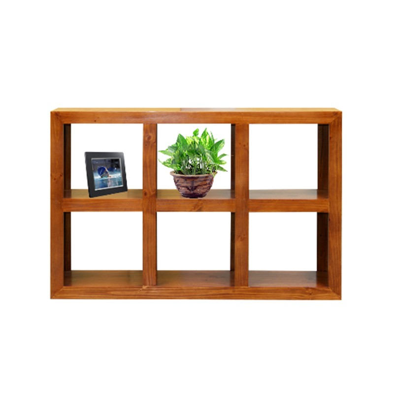 Cube New Zealand Pine Timber Low Display Shelf, 6 Compartment, Blackwood