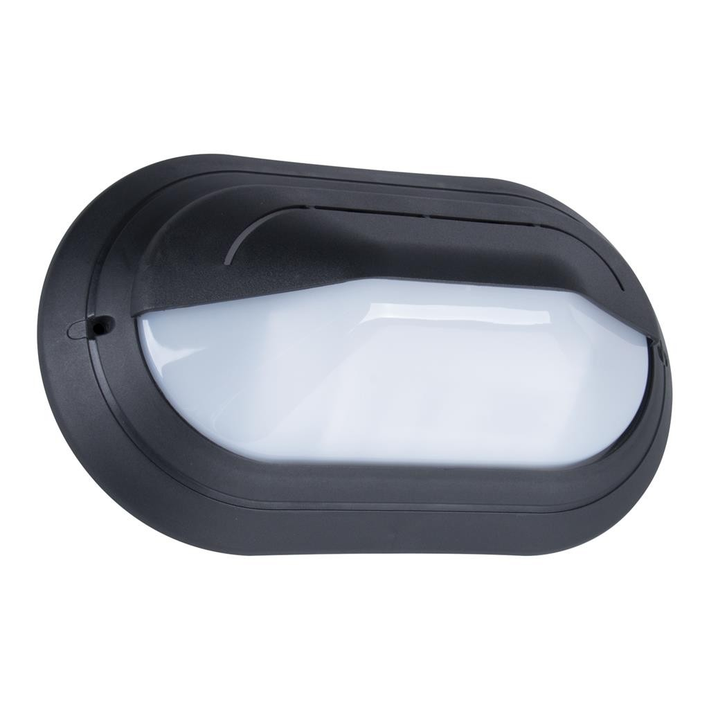 Polyring IP65 Italian Made Exterior Bunker Wall Light, Eyelid, Large Oval, Black