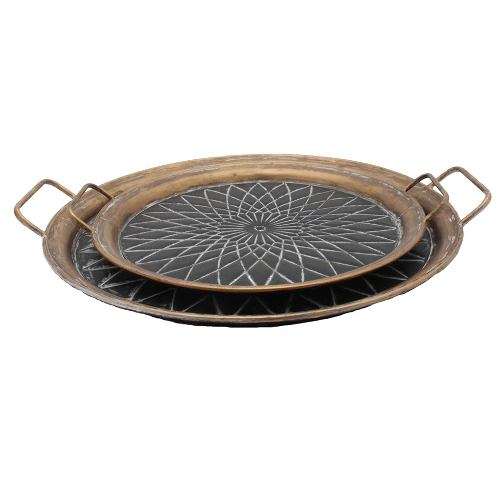 Rolim 2 Piece Round Metal Tray Set