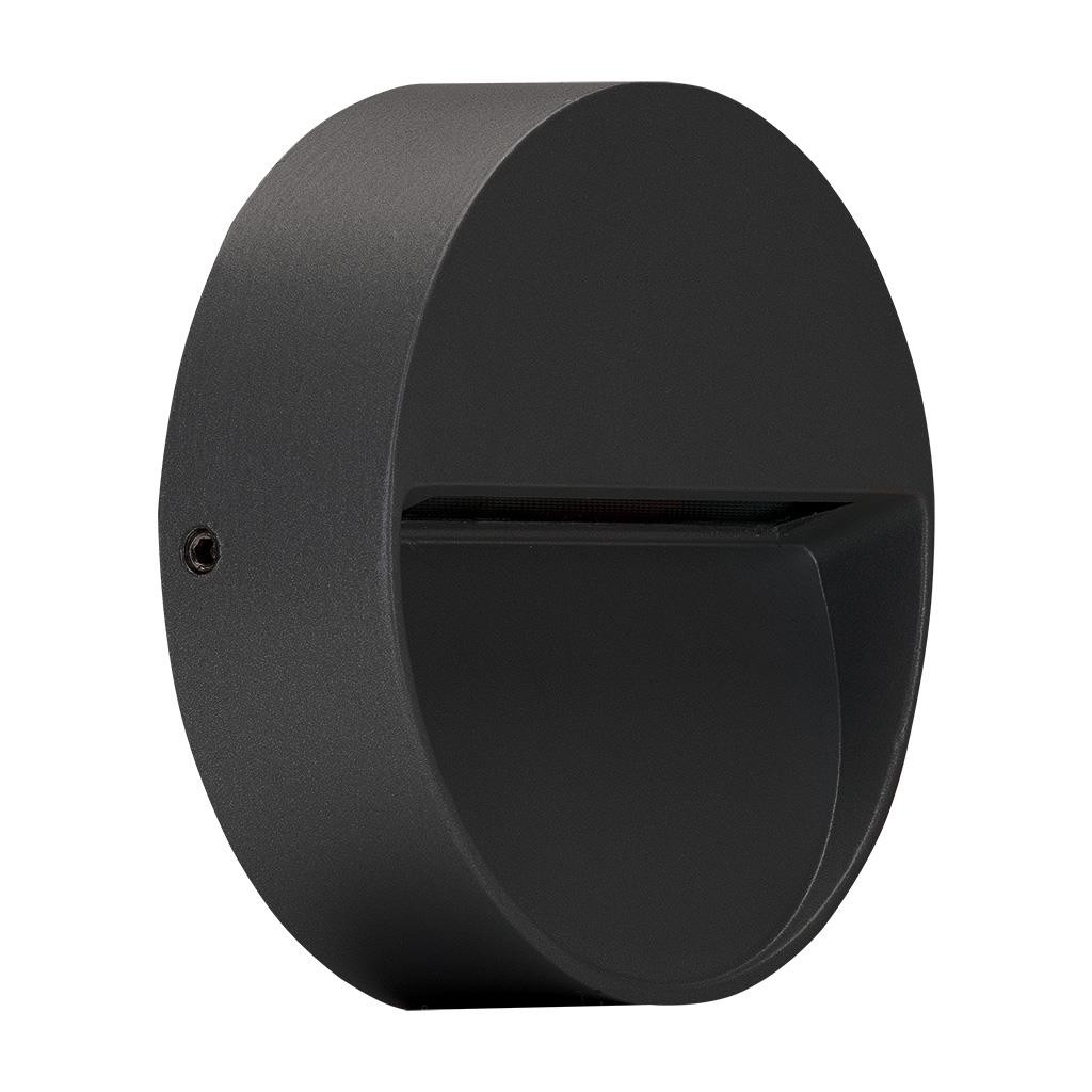 Zeke IP65 Exterior Surface Mounted LED Steplight, 5000K, Mini  Round, Dark Grey