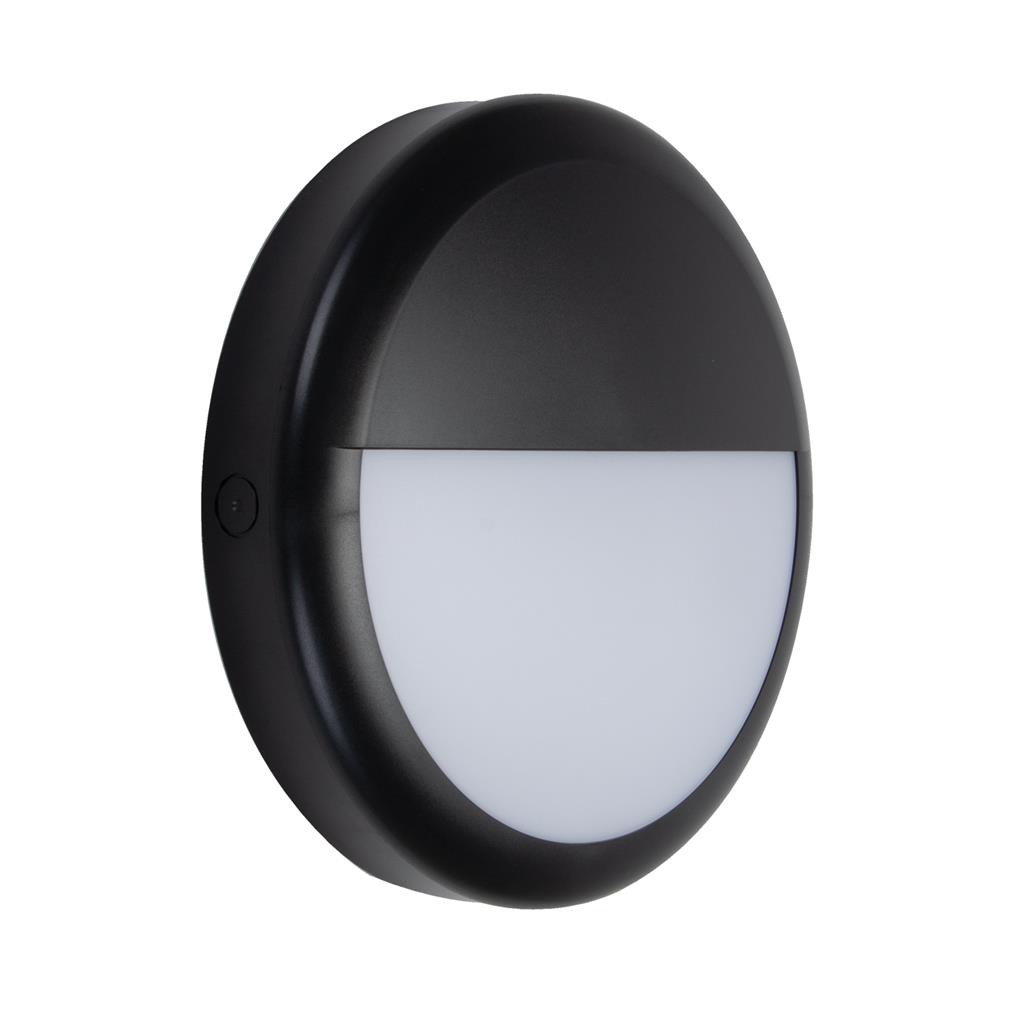 Versa IP65 Exterior LED Bunker Wall Light, Eyelid, Black
