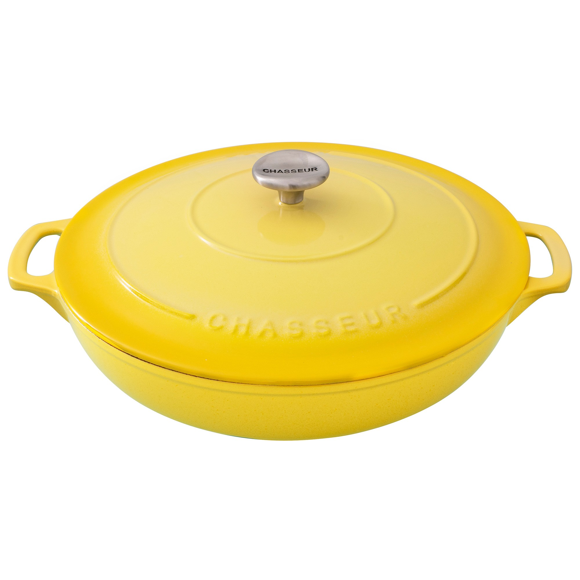 Chasseur Cast Iron Round Casserole, 30cm, Lemon Yellow