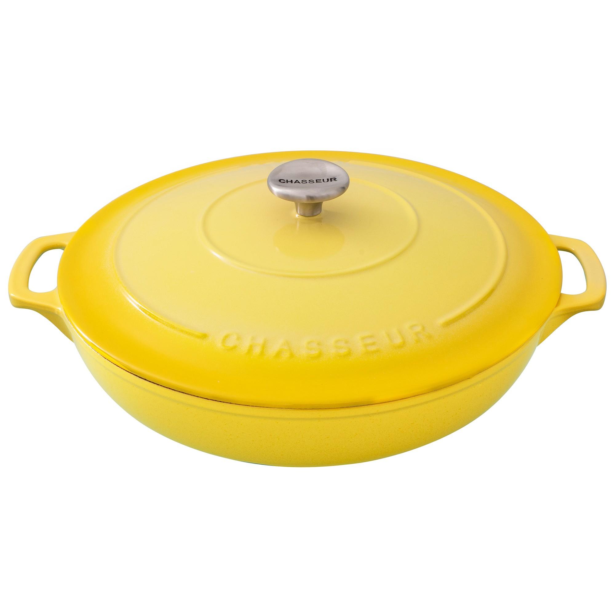 Chasseur Cast Iron Round Casserole, 30cm, Lemon Yellow